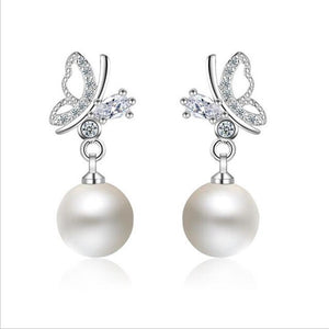 KOFSAC Luxury Crystal AAA Zircon Cute Butterfly Pearl Stud Earrings For Women fashion 925 Sterling Silver Earring Top Jewelry