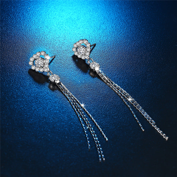 KOFSAC Fashion 925 Sterling Silver Stud Earrings For Women Love Heart Crystal Long Chain Tassel Earring Bridesmaid Top Jewelry
