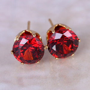 Wholesale Top Brand Design  Gold-color Red Crystal Zircon Stud Earrings Elegant Earrings Jewelry for women