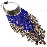 7 Colors Vintage Women Jewelry Pendant Resin Tassels Statement Choker Bib Necklace Beads Long Necklace Choker Female Gift