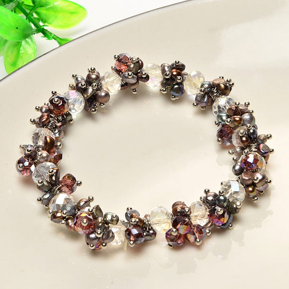 100% Freshwater pearl bracelet glamorous full of water droplets rice-shaped lengthening conditioning chain fashion female style
