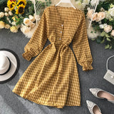 Plaid Dress Autumn 2019 Korean V Neck Dress Long Sleeve Dresses Winter Vintage Midi Shirt Bohemian Clothes Pink Vestidos Robe