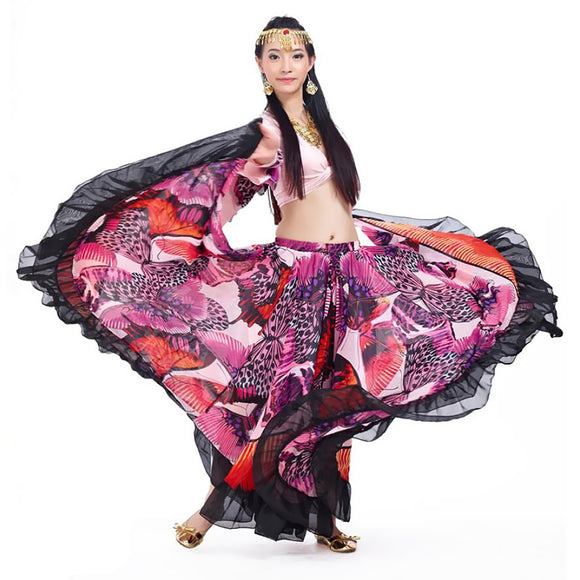 Tribal Gypsy Style Flamenco Belly Dance Costume Set for Women Chiffon Top and Butterfly Print Swing Maxi Skirt