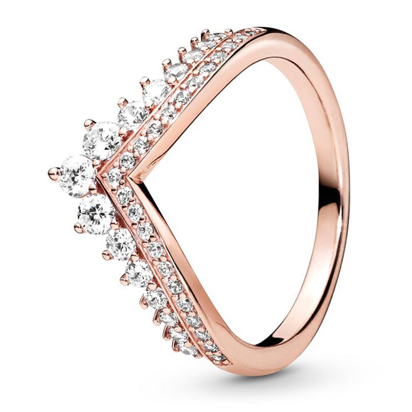 2019 New 100% 925 Sterling Silver Rose Gold Princess Wishbone Ring Original Fashion Women's Gift Holiday Jewelry Factory Sales