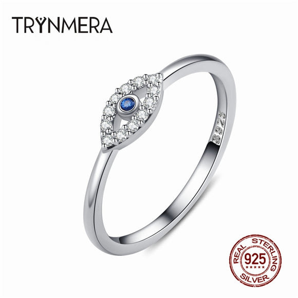 Engagement 925 Sterling Silver Evil Eye Finger Ring Blue Eye Crystal Rings for Women Wedding Rings Sterling Silver Jewelry
