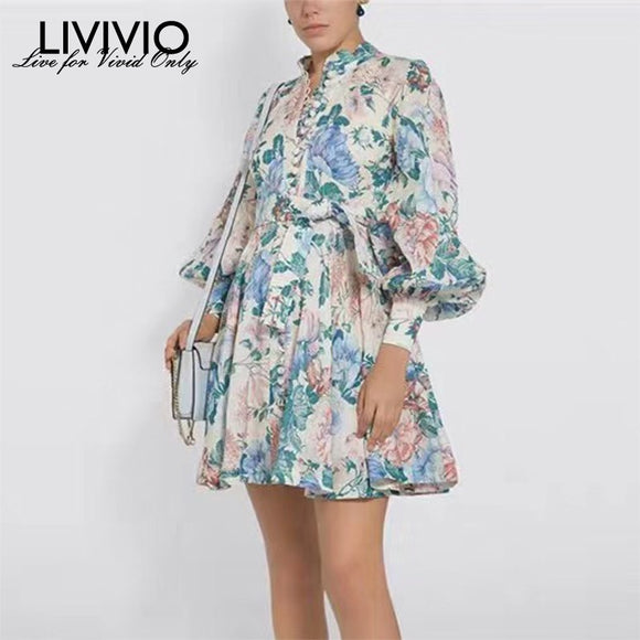 [LIVIVIO] Print Floral Bohemian Dress For Women Lantern Long Sleeve Stand Collar Mini Dresses Female 2019 Autumn Fashion New