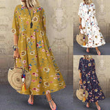 Bohemian Women Dress Plus Size Female Printed Long Maxi Vestidos ZANZEA Ladies Casual Loose Holiday Party Beach Summer Sundress