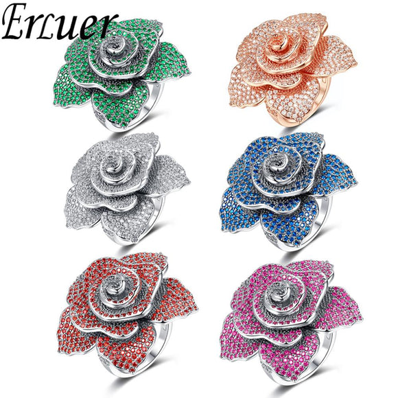ERLUER Brand jewelry Rings For women Fashion silver rose gold Fill Crystal zircon Flower luxury wedding party Finger Ring girl