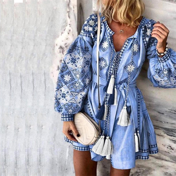 Vintage Sexy V-Neck Floral Boho Dress Women Summer Autumn New Tassel Mini Dresses Bohemian Beach Dress Vestidos