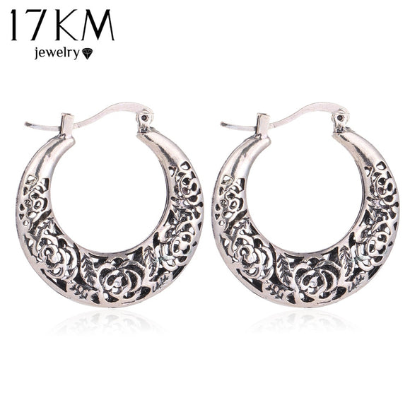 17KM Vintage Jewelry Hollow out Flower Earring for Women Tibetan Antique Silver Color  Bohemian Charm Dangle Long Accessories - The Rogue's Clothes