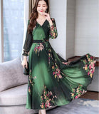 Bohemian Style Dress 2019 Autumn  New Arrival V Collar Flower Printed Long  Sleeve  Plus Size M-4XL Woman Chiffon Long Dress