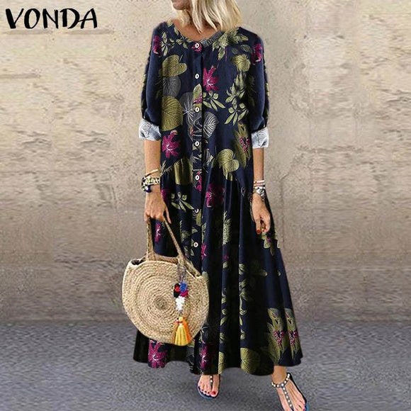 VONDA Fashion Floral Printed Maxi Dress Women Bohemian Vintage Party Dress 2019 Casual Loose Long Sleeve Vestidos Plus Size Robe
