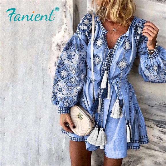 Summer Autumn Sexy Boho Dress Tassel Hollow Mini Dresses Women 2019 New Bohemian Floral Print Beach Dress Vestido Lantern Blue