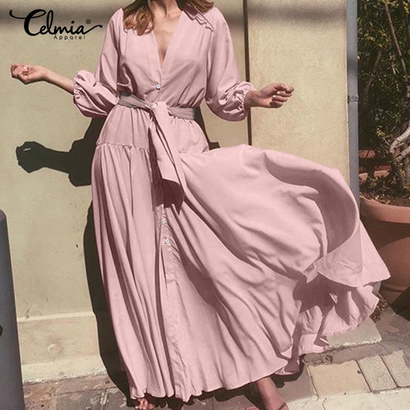 Bohemian Ruffles Dress Women Sexy V neck Long Maxi Dress Celmia 2019 Autumn Puff Sleeve Sashes Solid Casual Loose Vestidos S-5XL