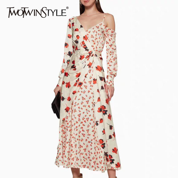 TWOTWINSTYLE Bohemian Print Dress For Women Asymmetrical Collar Long Sleeve Ankle Length Dresses Female 2019 Spring Fashion New