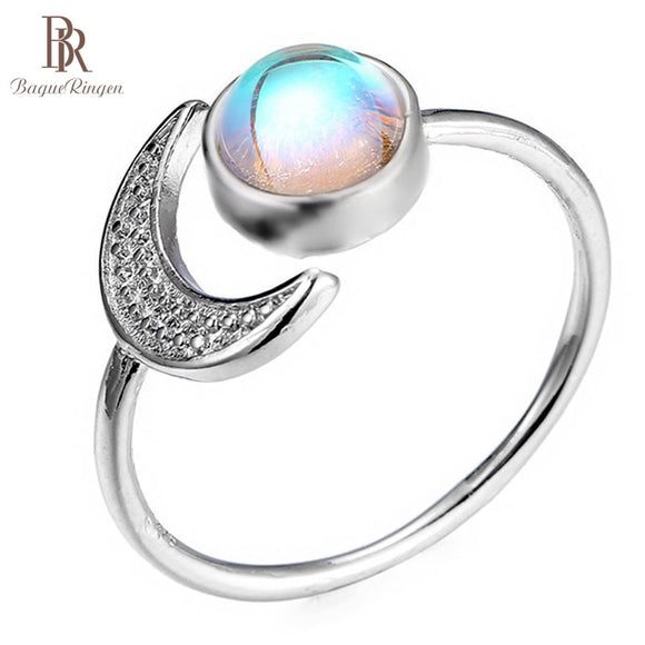 Bague Ringen 925 Silver Jewelry Ring for Women Moon Moonstone Wedding and Birthday Gifts Anniversary Opening Adjustable Party
