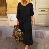 Plus Size Bohemian Dress Women Casual Solid Long Maxi Sundress ZANZEA Female Long Sleeve Shirt Vestidos Elegant Lady Party Robe
