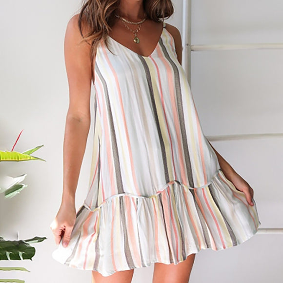 JAYCOSIN Women's Spring And Summer Fashion Bohemian Casual Stripe Female Sleeveless Spaghetti Strap Ladies Dress Mar26 P38