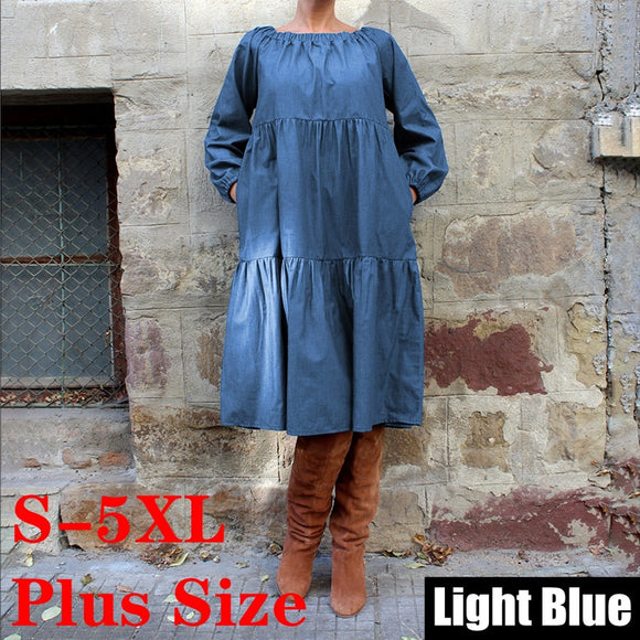 Plus Size Denim Dress 2019 Autumn Bohemian Women Long Lantern Sleeve Knee-Length Dress Casual Vestido Off Shoulder Sundress