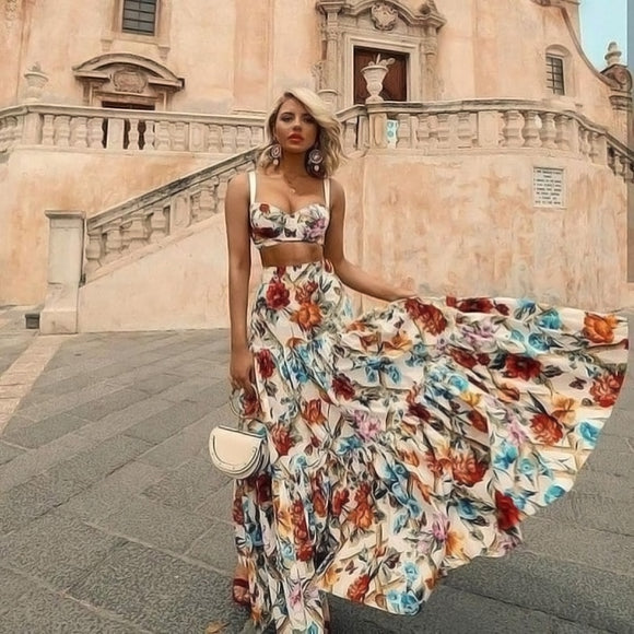 summer floral maxi dress women bohemian style sleeveless 2 Piece set dresses vestidos ropa mujer boho chic beach dress plus size