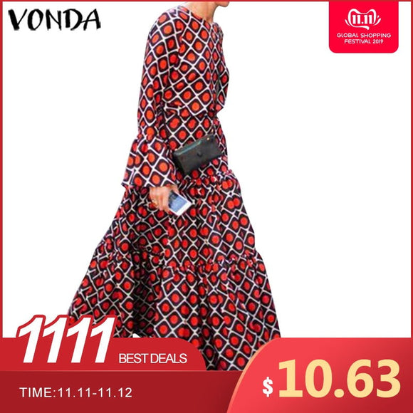 VONDA Ladies Long Sleeve Printed Dress 2019 Autumn Winter O Neck Warm Dresses Plus Size Beach Party Bohemian Robe Femme Vestidos