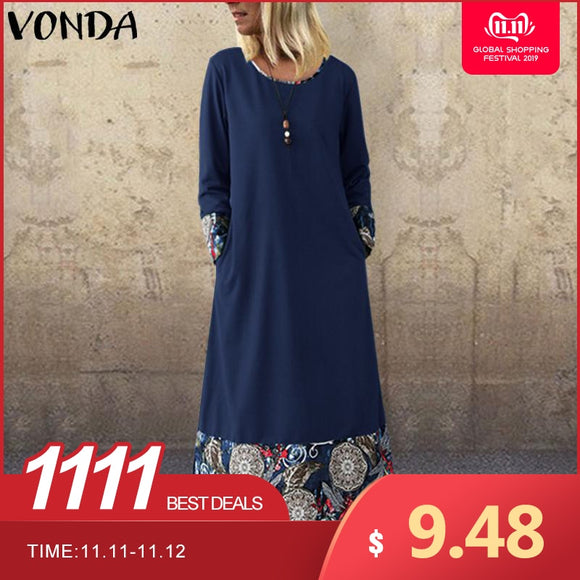 VONDA Womens Maxi Long Dress Casual Long Sleeve Bohemian Printed Patchwork 2019 Autumn Dress Party Vestidos Plus Size Robe Femme