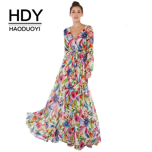 HDY Haoduoyi 2019 New Fashion Bohemian Style Tropical Flower Print Sexy V-neck Belt Slim Lantern Sleeve Pleated Dress For Women