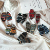 Autumn and Winter Vintage Bohemian Colorful Wool Woven Stripes Geometry BB Clip Fashion Sweet Girl Women's Hairpins Headwear