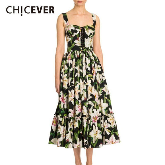 CHICEVER Summer Bohemian Style Print For Women Dress Square Collar Spaghetti Strap Button Pleated Hem Mid Calf A-line Dresses