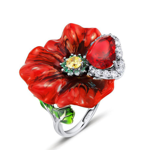 Huitan Bloody Queen Stylish Plant Finger Rings Heart Shaped Stone Luxury Flower Shaped Surface Blosom Cocktail Party Rings
