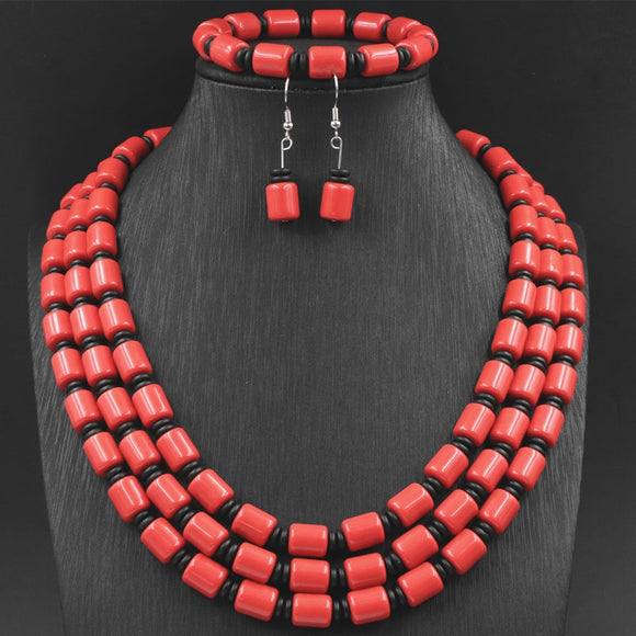 African Jewelry Set Necklace Earrings Bracelet Orange Faux Resin Ambers Beeswax Beads Fashion Statement Women Sets 17-19