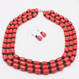 "African Jewelry Set Necklace Earrings Bracelet Orange Faux Resin Ambers Beeswax Beads Fashion Statement Women Sets 17-19"" A526"