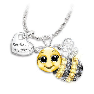 Fashion Cute Elephant Owl Bee Ladybug Necklace Initial Heart Necklace Symbolizes Love and Luck Letter Necklace Couple Jewelry