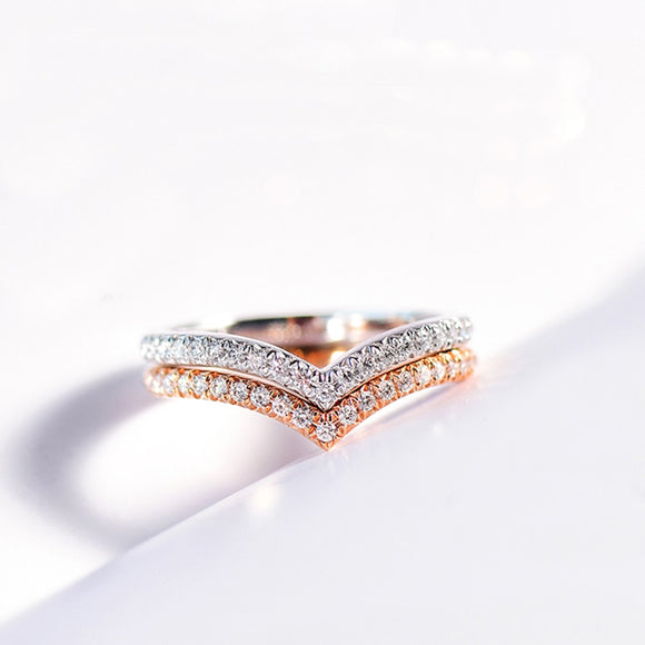 Classic Engagement Rings for Women 3 Items Rose Gold Color V Lover Shape Popular Micro Pave Setting Zirconia Xmas Jewelry R011