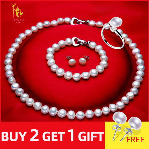 NYMPH FreshWater Pearl Jewelry Set For Women Natural Baroque White Stone Beads Choker Necklace Earrings Bracelet Party [T207]