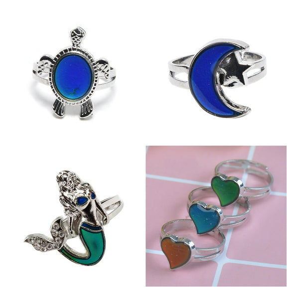 1PC Chic Vintage Color Change Mood Ring Changing Color Turtle Moon Adjustable Emotion Feeling Changeable Temperature Ring