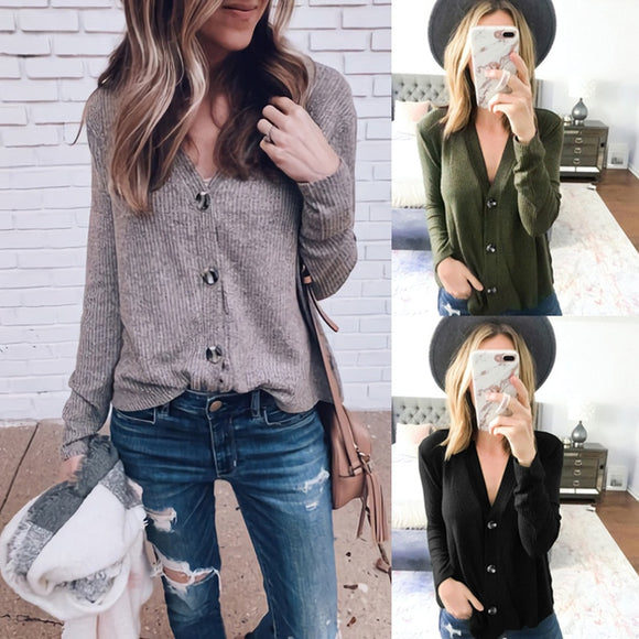 Casual Fashion Knitted Cardigans Sweater Women Solid Basic Autumn Winter Long Sleeve Buttons V Neck Sweater Regular Tops