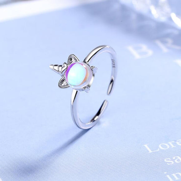 Exquisite Muticolor Moonstone Unicorn Rings For Women Silver Jewelry Accessories