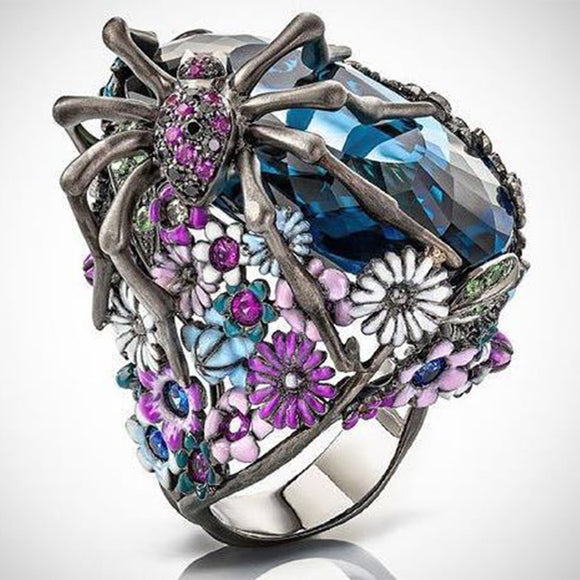 Size 6-10 Retro Blue Cubic Zirconia Ring Spider Animal Rings For Women Vintage Silver Color Flower Ring Party Punk Jewelry Gifts