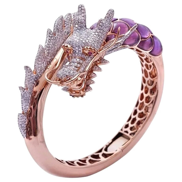 Unique Style Female Dragon Animal Ring 18KT Rose Gold Engagement Ring Vintage Wedding Band Skull Rings For Women