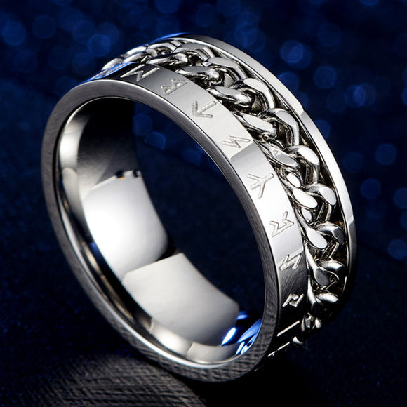 Men's Chain Rotating 8mm Silver Ring Band With Viking Rune Odin Norse Text Wedding Stainless Steel Black Rings For Men Jewelry
