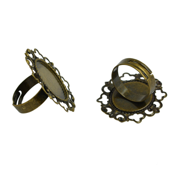 10 Pieces Brass Adjustable Ring Tray Bevel Flower Filigree Ring