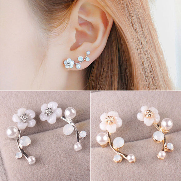 New Fashion Crystal Earrings For Women Branch Shell Pearl Flower Stud Earrings Female Statement Ear Jewelry Gift Wholesale
