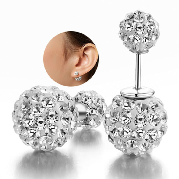 1 Pair Double Side Earrings For Women Jewelry Crystal Ball Simulated Pearl Jewelry Trendy Stud Earrings