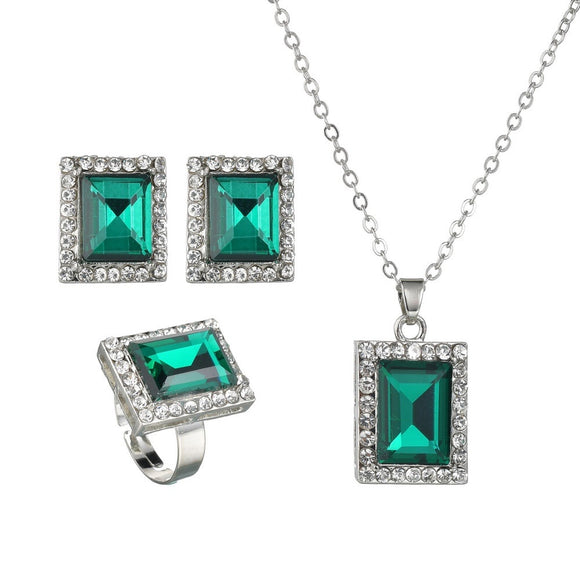 Vintage Classic Women Jewelry Set Fashion Rectangle Blue/Green/Pink/Yellow Crystal Pendant Necklace Earring Ring Jewellery Sets