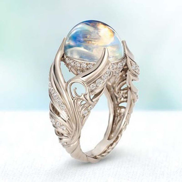 Fashion S925 sterling silver round moonstone angel wings ring ladies wedding jewelry engagement party gift