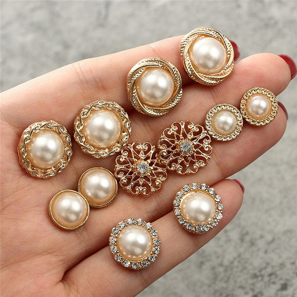 Pearl Earring Set Retro 6 Pcs Half Simulated Pearl Flower Stud Earrings Fashion Jewelry For Women Charm Jewelry Gold-Color Round