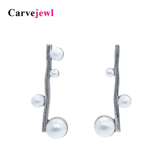 Carvejewl stud earrings stick cotton pearl stud earrings for women jewelry burnished gold silver plating unique girl gift new