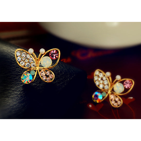 Earrings For Women Hollow Luxury Bright Colorful Cystal Simulated Pearl Butterfly Earrings Fashion Jewelry Accesorios Mujer