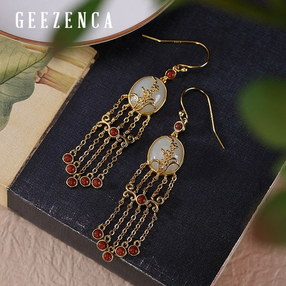 925 Sterling Silver Gold Plated Jade Agate Tassels Drop Earrings Vintage Bohemia Long Dangle Earring Fine Jewelry For Women Gift